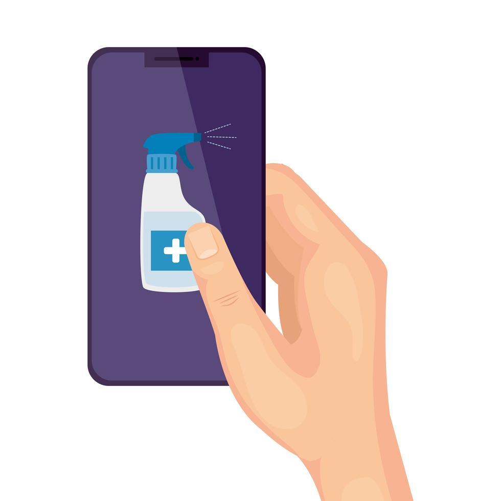 main et smartphone avec désinfectant en vaporisateur vecteur