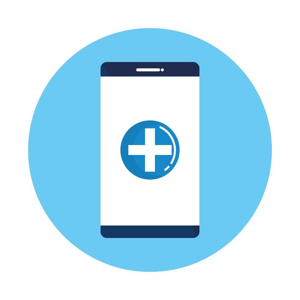 smartphone avec santé symbole croix vecteur