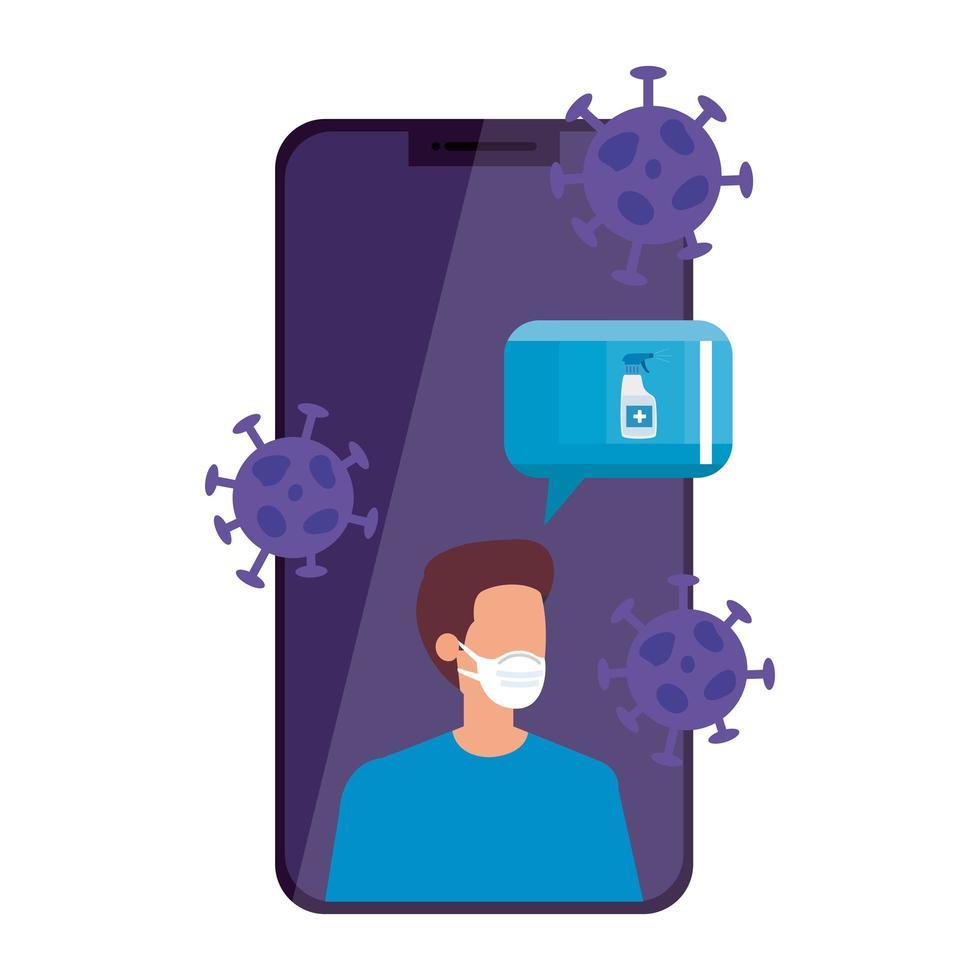 homme utilisant un masque facial dans un smartphone vecteur