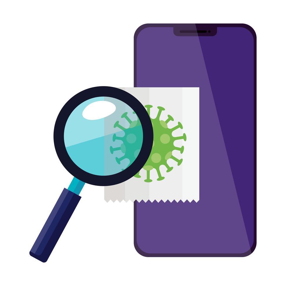 smartphone avec loupe et particules covid 19 vecteur