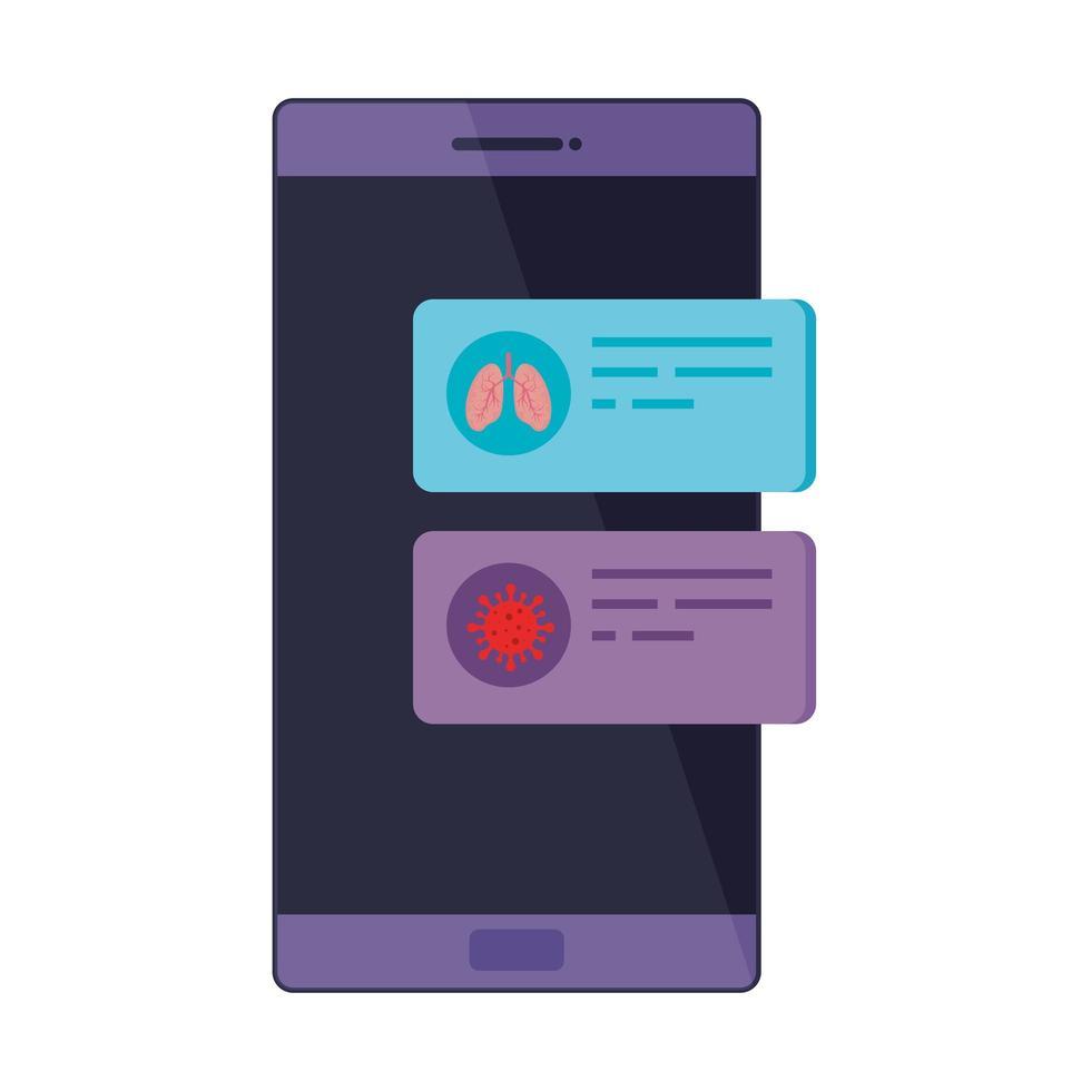 Smartphone avec icône isolé information covid 19 vecteur
