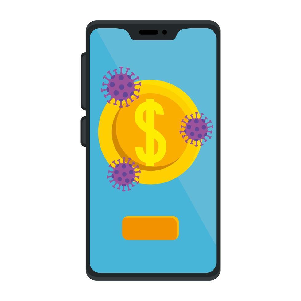 smartphone avec pièce de monnaie et particules covid 19 vecteur