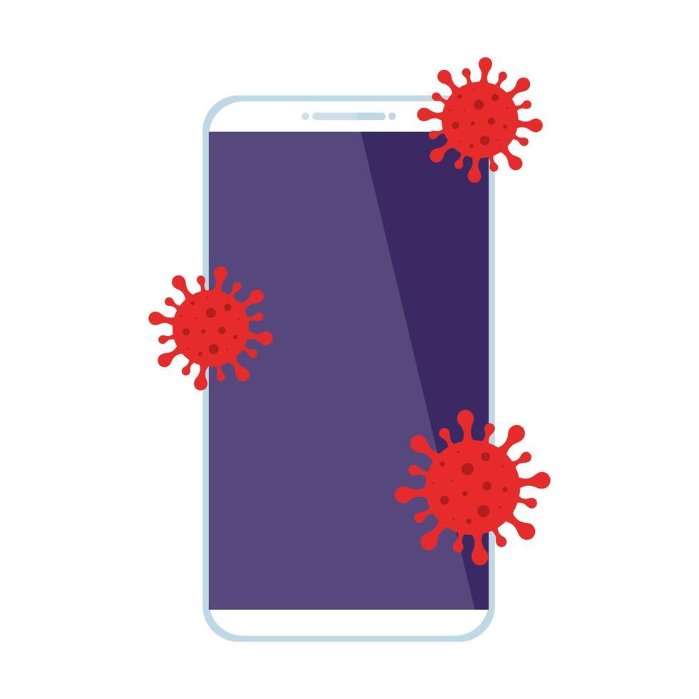 smartphone avec des particules icône isolé covid 19 vecteur