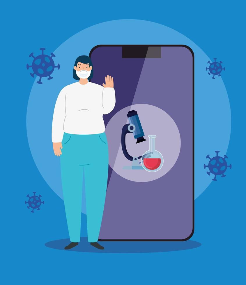 femme utilisant un masque facial et un smartphone avec des particules 2019 ncov vecteur