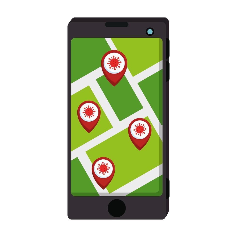 smartphone avec application de localisation des infections covid 19 vecteur