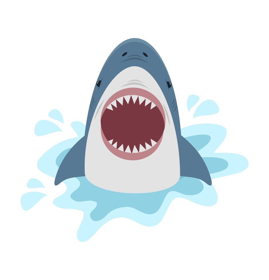 requin mignon avec la bouche ouverte vecteur