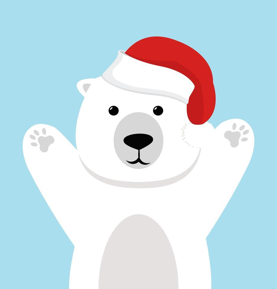 vecteur mignon ours polaire avec bonnet de Noel
