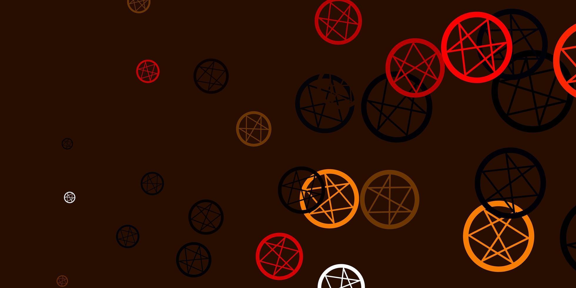 toile de fond de vecteur orange clair avec des symboles mystérieux.