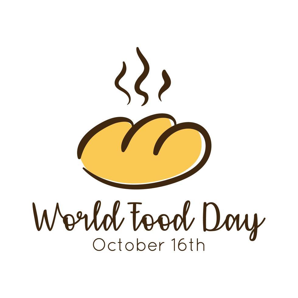 lettrage de célébration de la journée mondiale de la nourriture avec style plat de pain vecteur