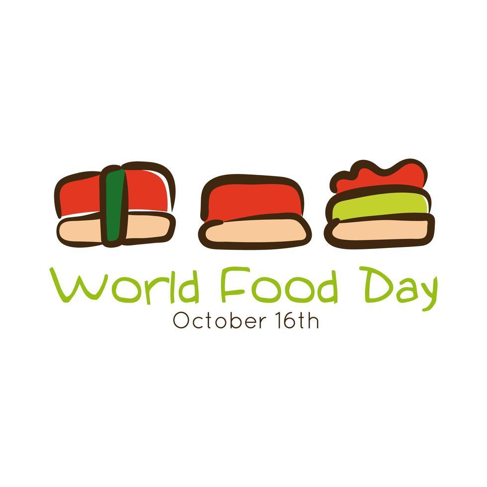 lettrage de célébration de la journée mondiale de la nourriture avec un style plat de sushi vecteur