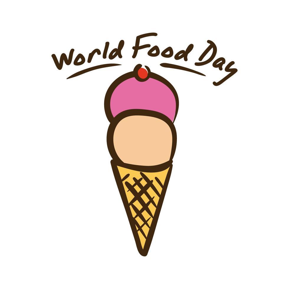 lettrage de célébration de la journée mondiale de la nourriture avec style plat de crème glacée vecteur
