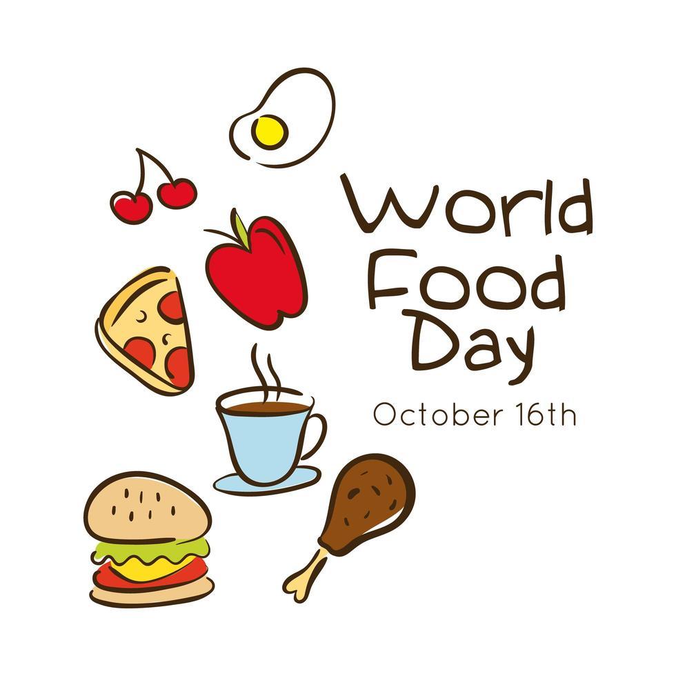 lettrage de célébration de la journée mondiale de la nourriture avec style plat de restauration rapide vecteur