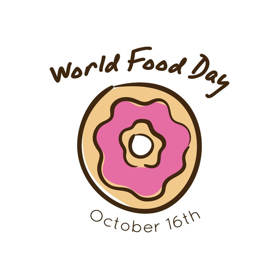 lettrage de célébration de la journée mondiale de la nourriture avec style plat beignet vecteur