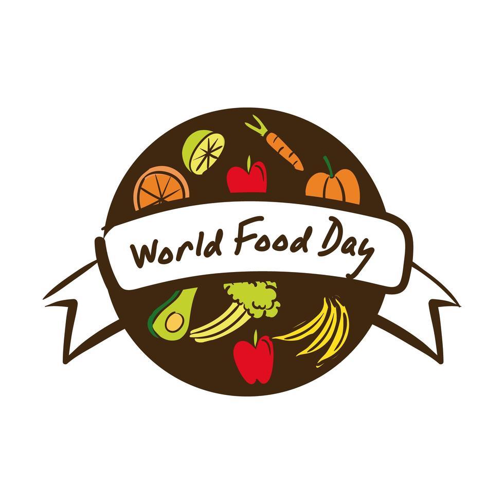 lettrage de célébration de la journée mondiale de la nourriture avec un style plat de nourriture saine vecteur