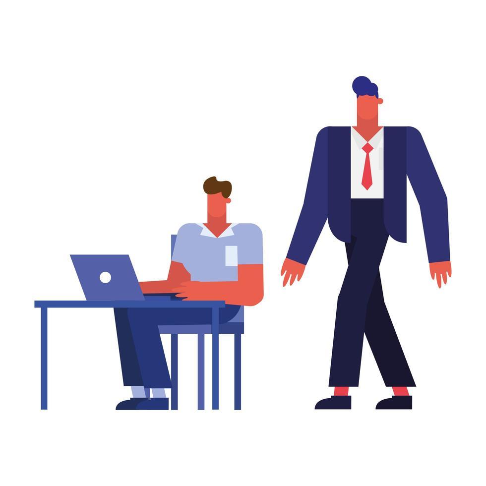 dessins animés d & # 39; hommes d & # 39; affaires à la conception de vecteur de bureau