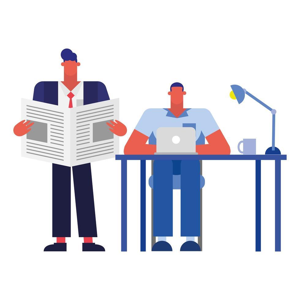 hommes au bureau avec ordinateur portable et nouvelles dans la conception de vecteur de bureau