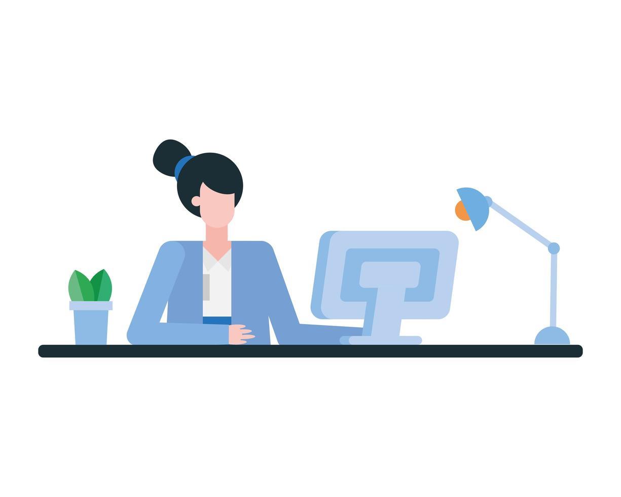 femme au bureau avec ordinateur dans la conception de vecteur de bureau