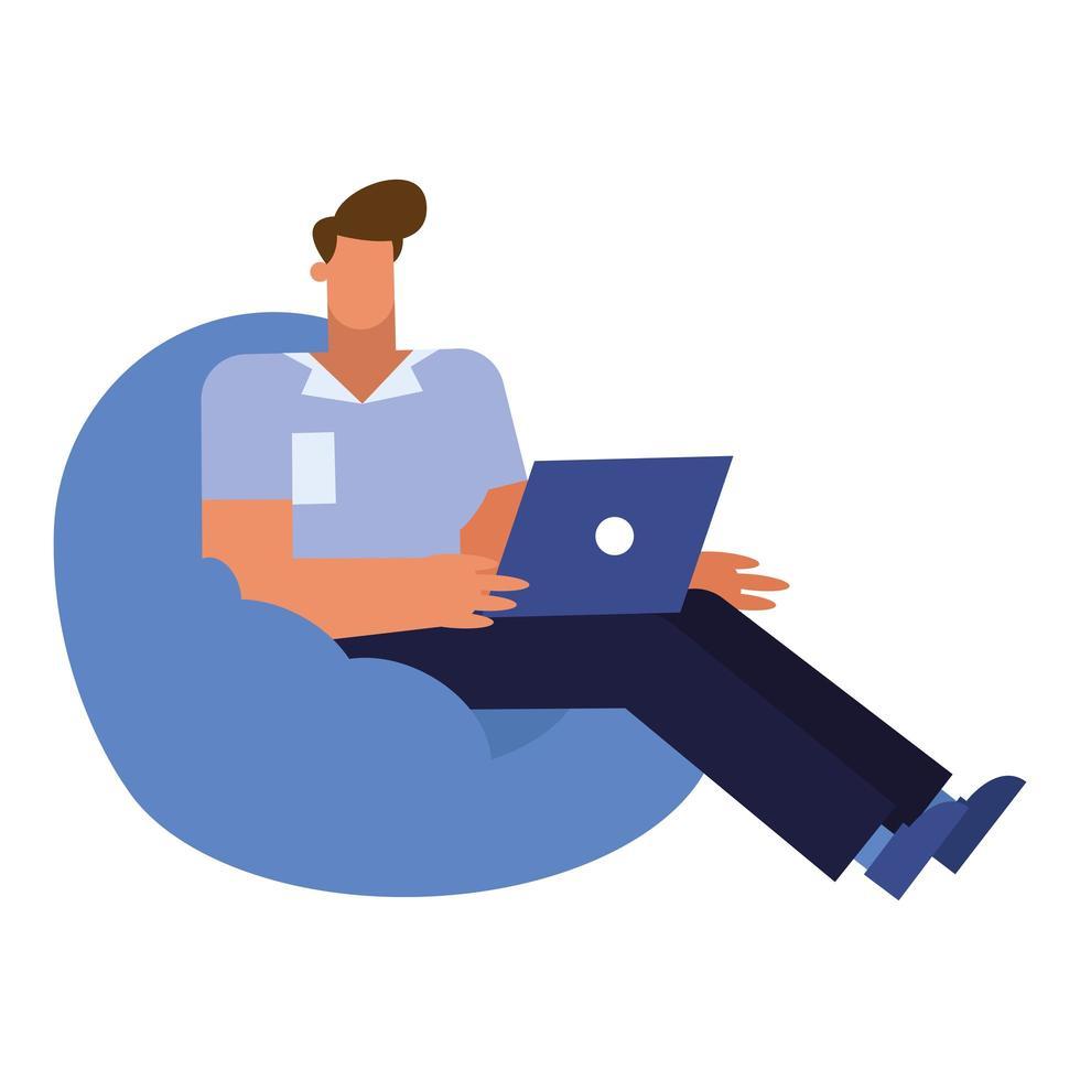 dessin animé homme d'affaires isolé avec ordinateur portable sur la conception de vecteur de bouffée