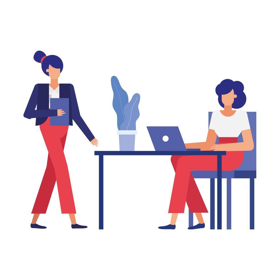 dessins animés de femmes d & # 39; affaires à la conception de vecteur de bureau