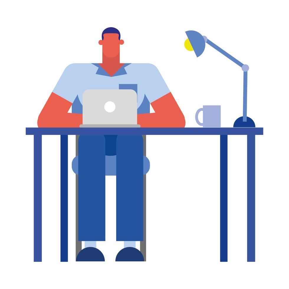 dessin animé homme d'affaires isolé avec ordinateur portable à la conception de vecteur de bureau