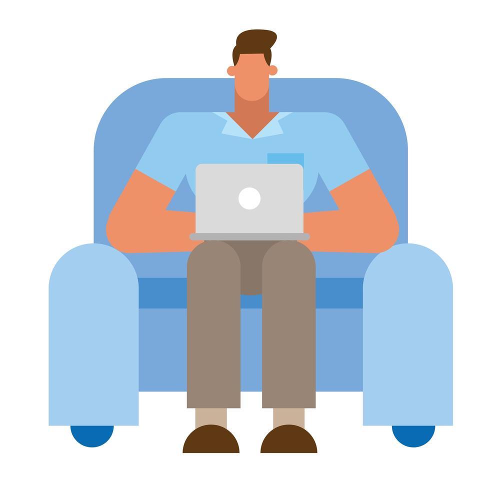 dessin animé homme d'affaires isolé avec ordinateur portable sur la conception de vecteur de chaise
