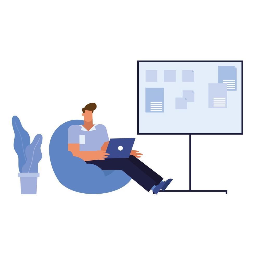 Caricature d'homme d'affaires isolé avec ordinateur portable sur chaise bouffante avec conception de vecteur de tableau d'affichage