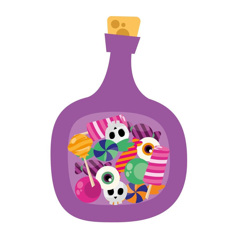 bonbons d'halloween dans la conception de vecteur de bouteille de poison