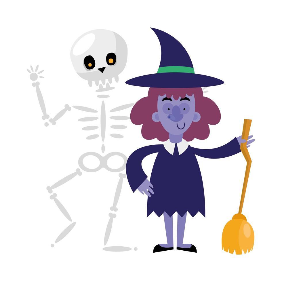 conception de vecteur de dessin animé halloween crâne et sorcière