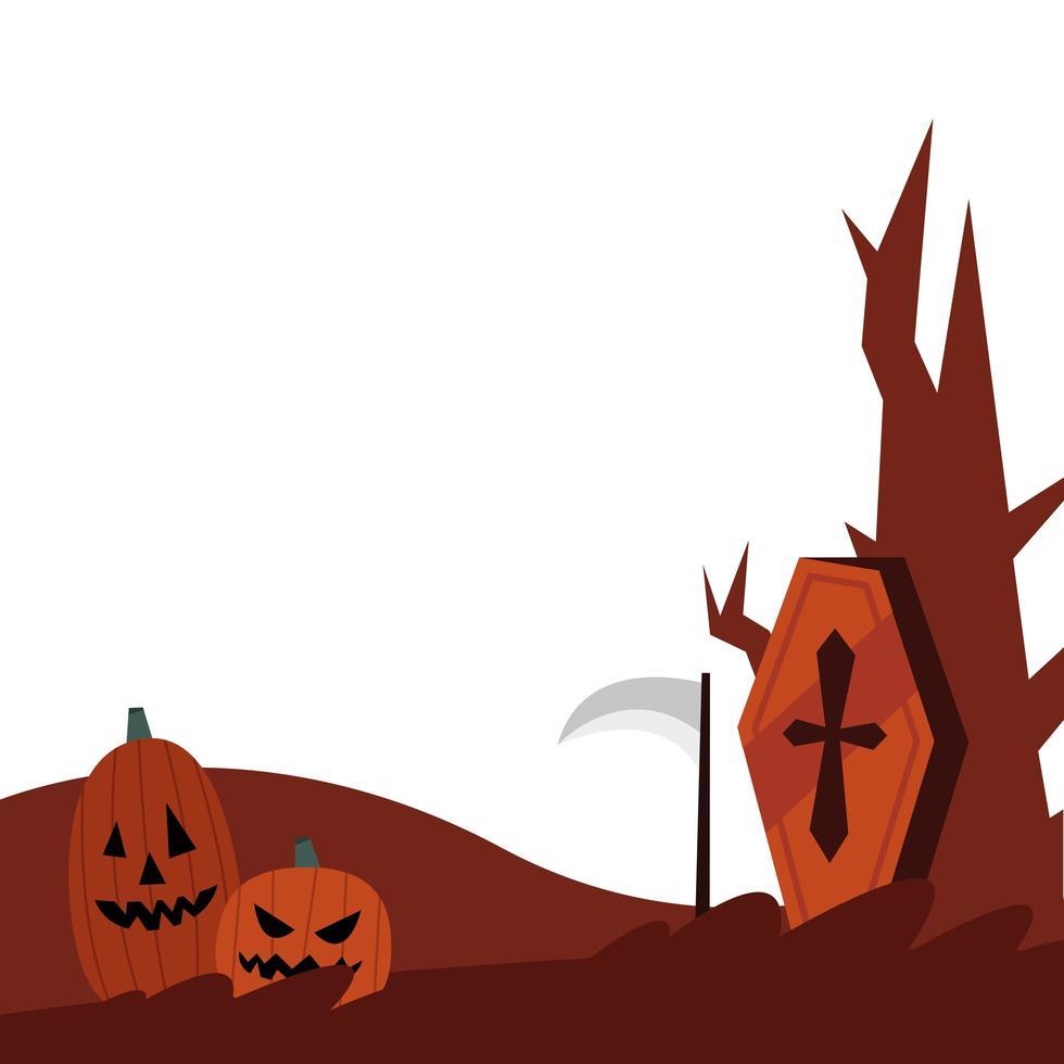 citrouilles d'halloween, cercueil et conception de vecteur d'arbre