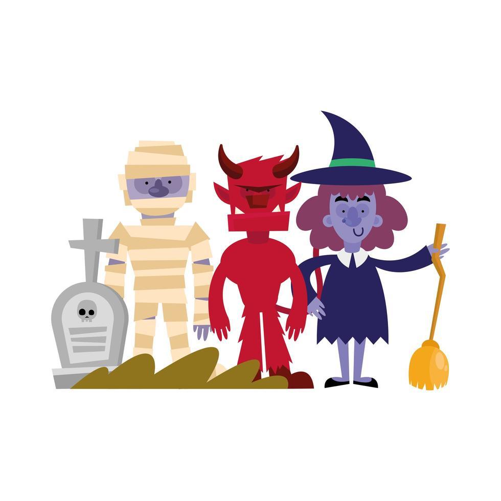 conception de vecteur halloween momie, démons et sorcière