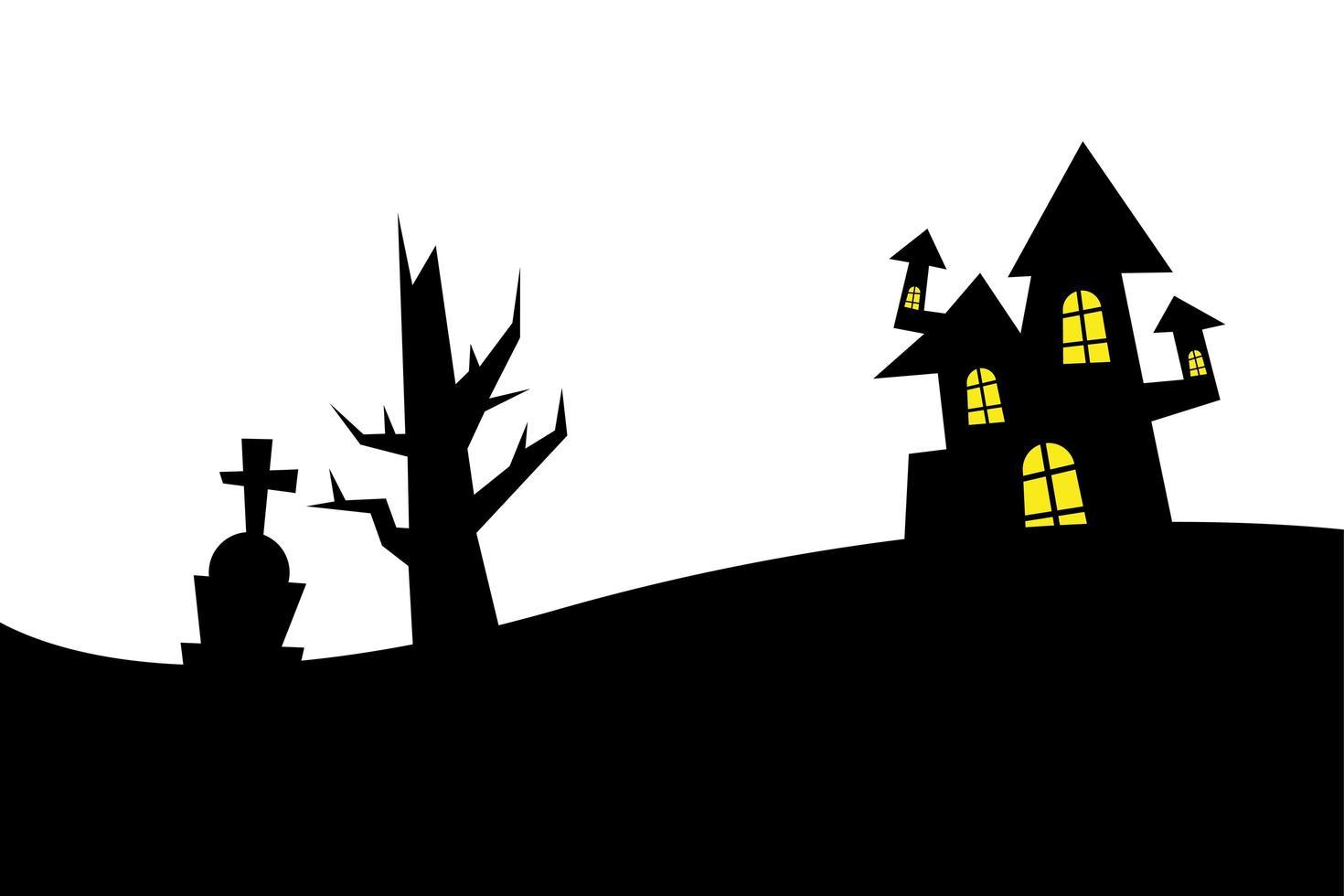 halloween maison, tombe et conception de vecteur arbre nu