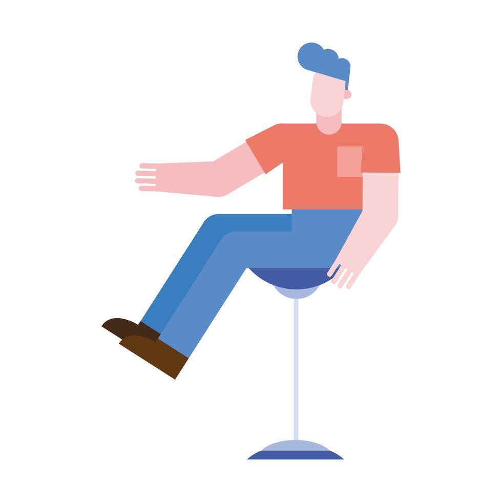 dessin animé homme sur la conception de vecteur de chaise