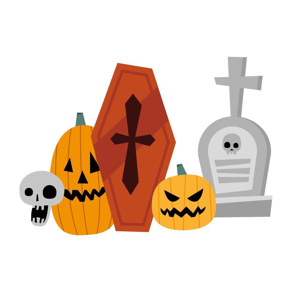 conception de vecteur de citrouilles d'halloween, tombe, crâne et cercueil