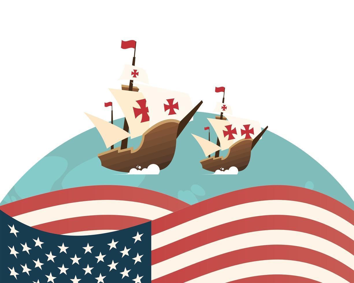 christopher columbus navires à la mer avec la conception de vecteur de drapeau usa
