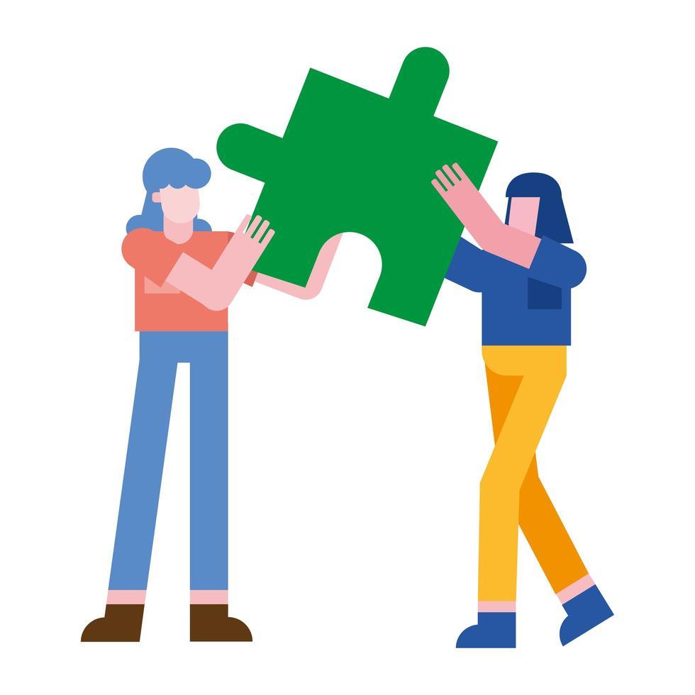femmes avec conception de vecteur de puzzles