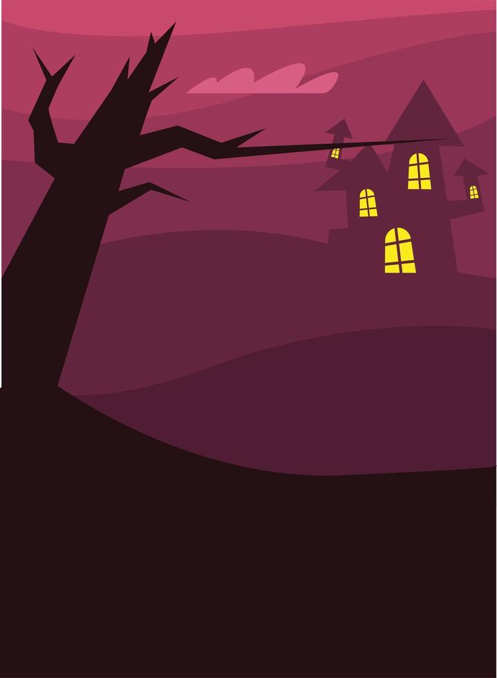 maison d'halloween et conception de vecteur d'arbre nu