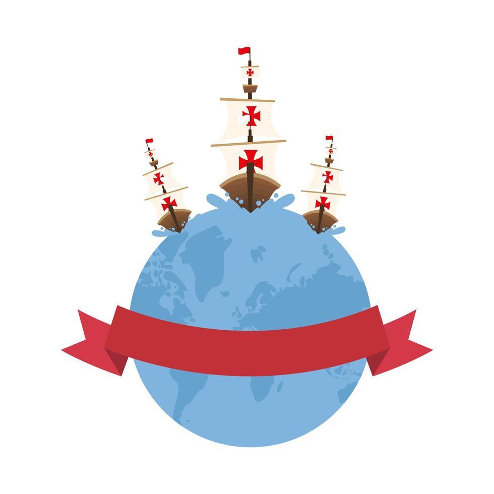 christopher columbus navires sur le monde avec la conception de vecteur de ruban