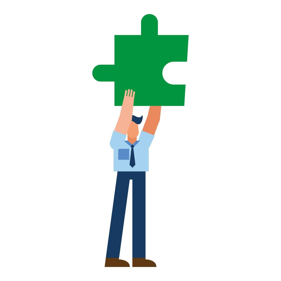 homme avec conception de vecteur de puzzle