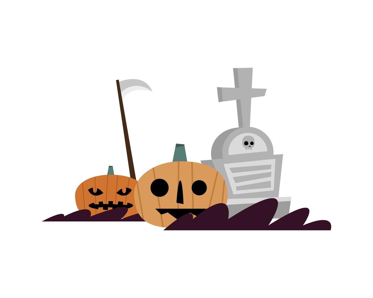 citrouilles d'halloween et conception de vecteur de tombe