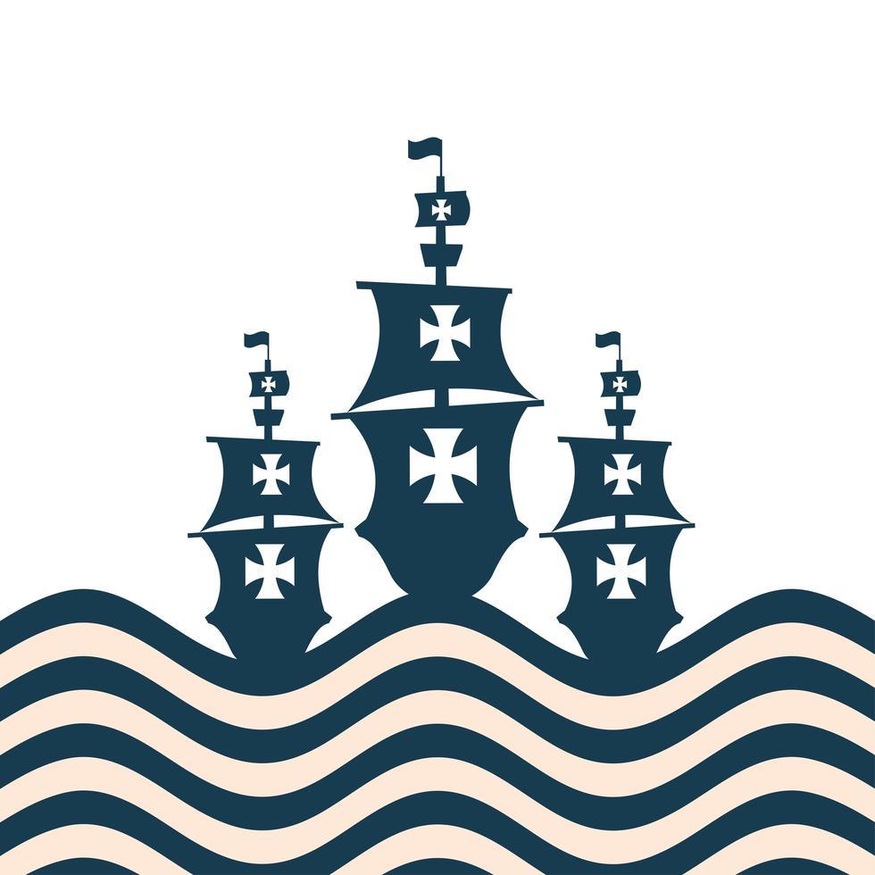 christopher columbus navires à la conception de vecteur de mer rayée