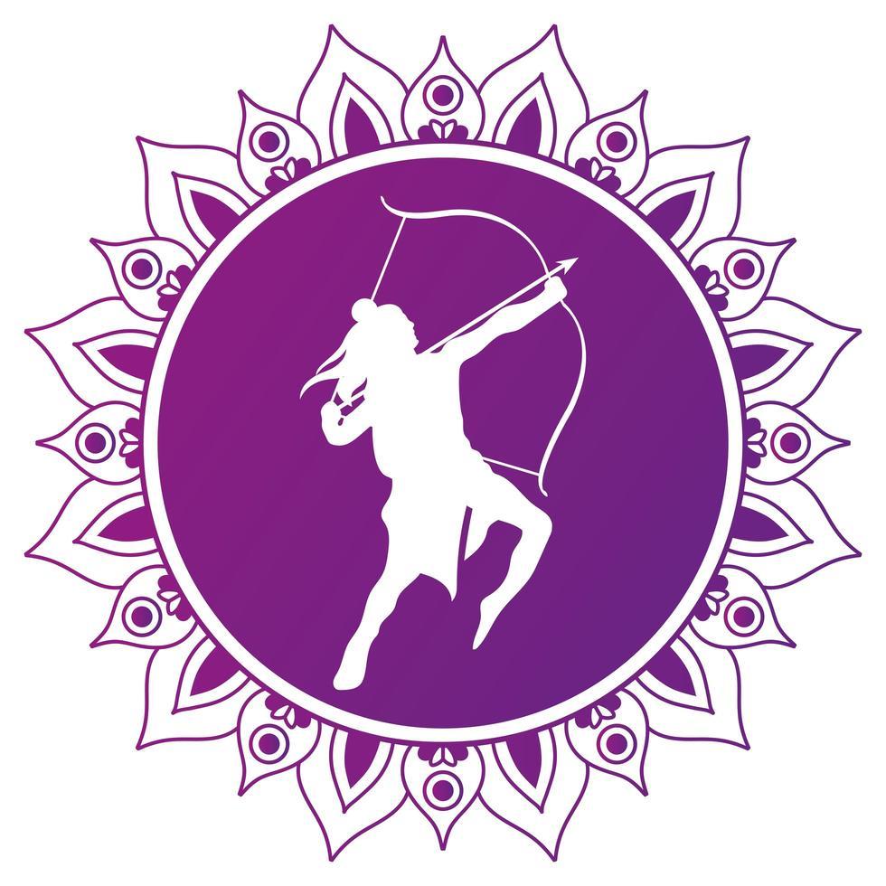 Dussehra seigneur ram silhouette blanche sur la conception de vecteur de mandala violet