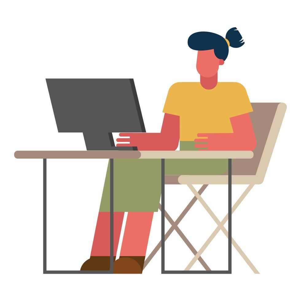 femme avec ordinateur au bureau travaillant à partir de la conception de vecteur à la maison