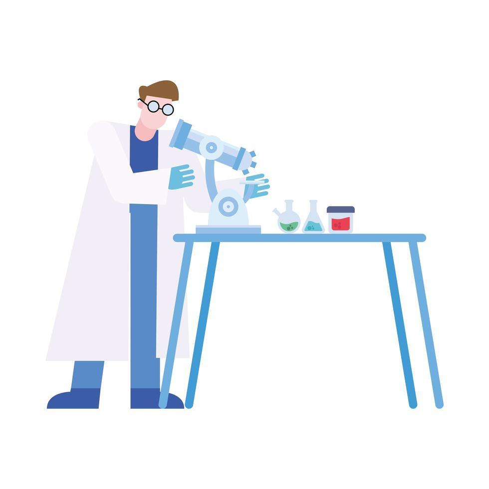 chimiste, homme, à, microscope, et, flacons, à, bureau, vecteur, conception vecteur