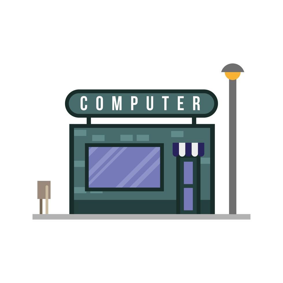 petite scène de façade de bâtiment de magasin informatique vecteur