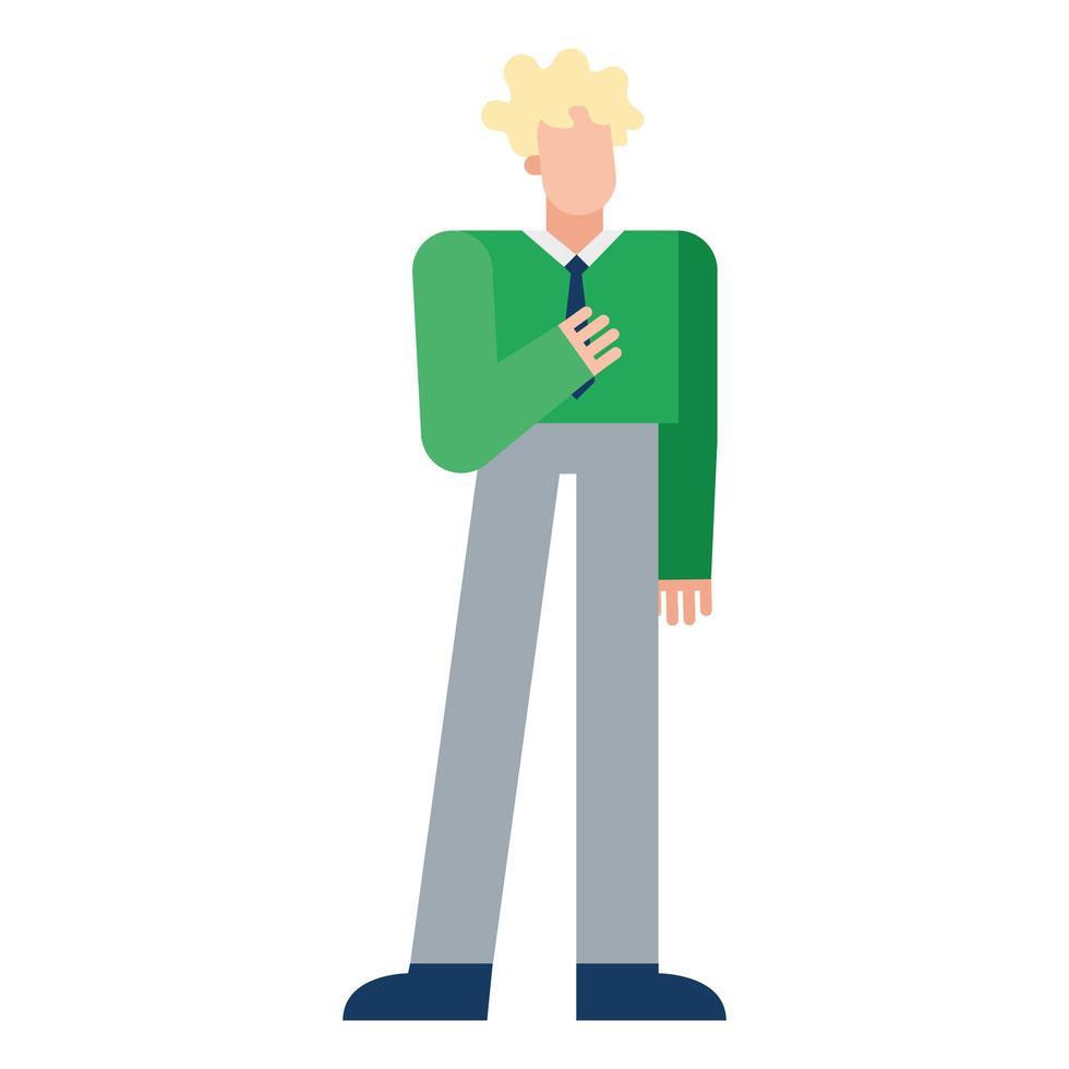 conception de vecteur de dessin animé homme blond