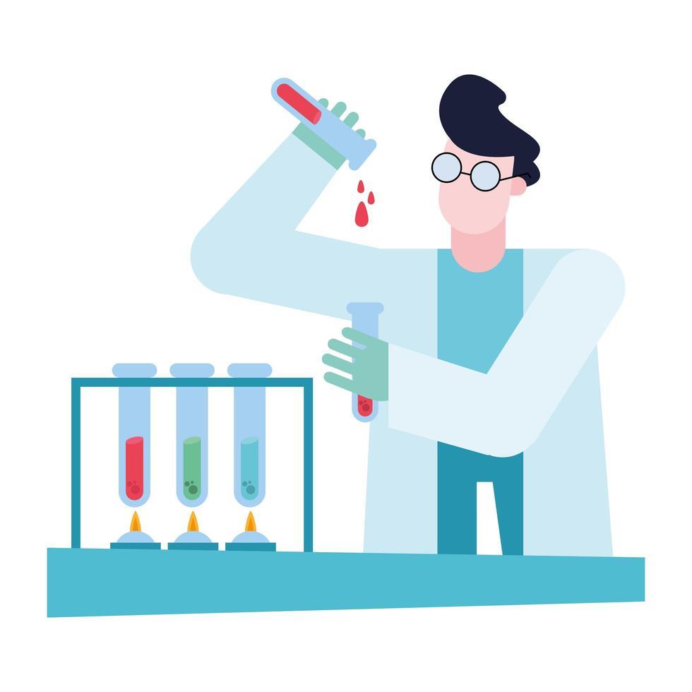 chimiste, homme, à, tubes, à, bureau, vecteur, conception vecteur