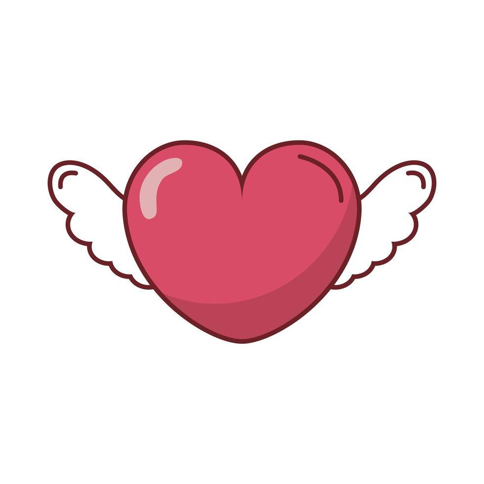 joyeux coeur de saint valentin avec des ailes vecteur