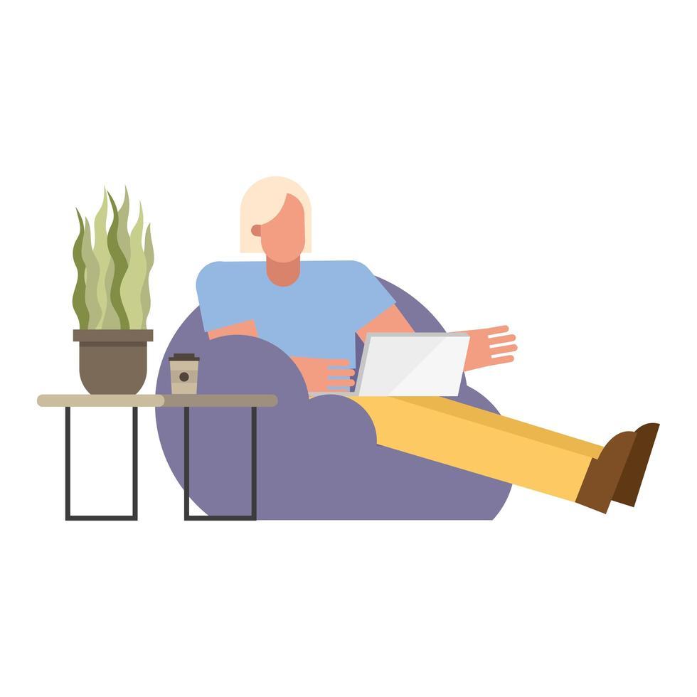 homme, à, ordinateur portable, sur, chaise bouffante, travailler maison vecteur