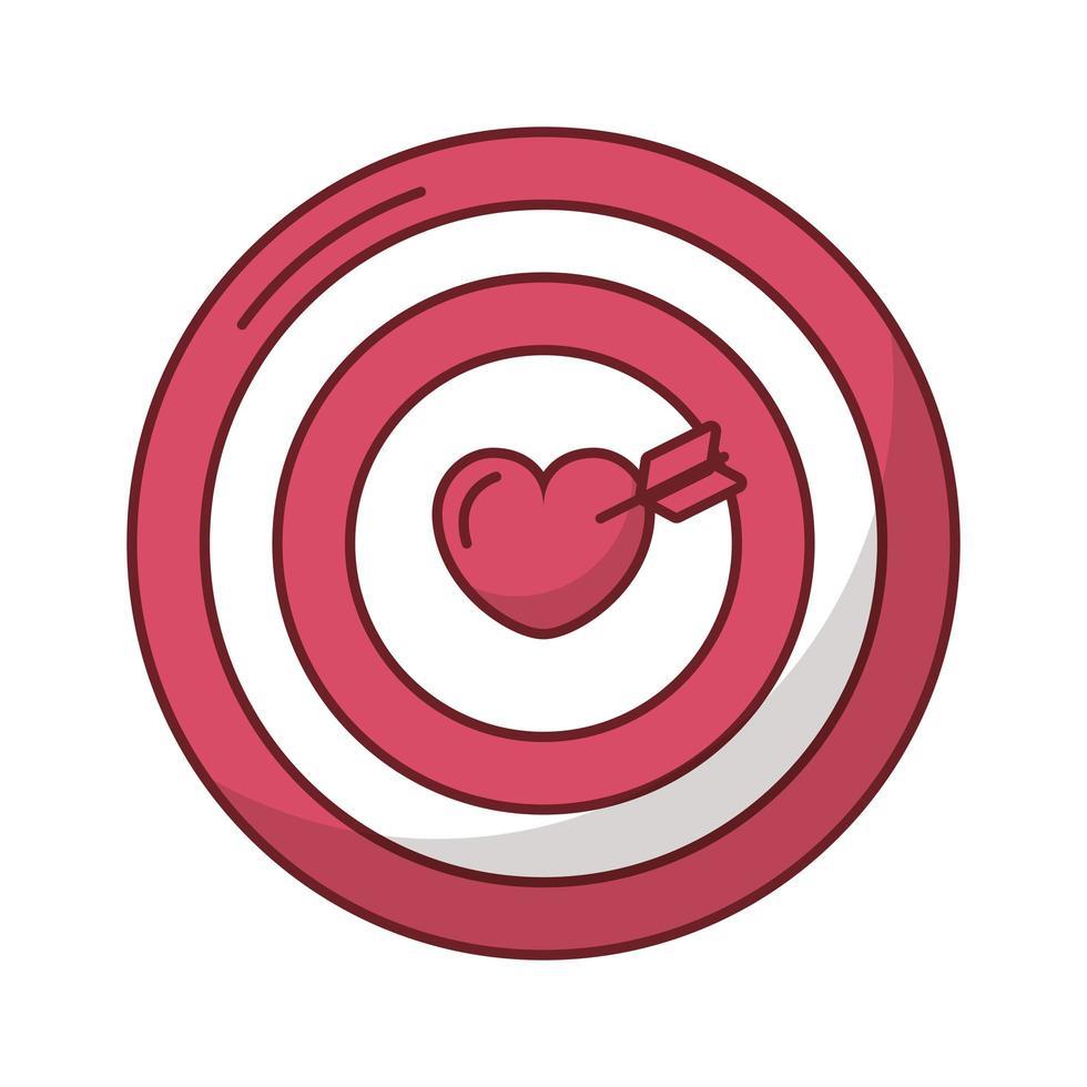 coeur joyeux saint valentin en cible avec flèche vecteur