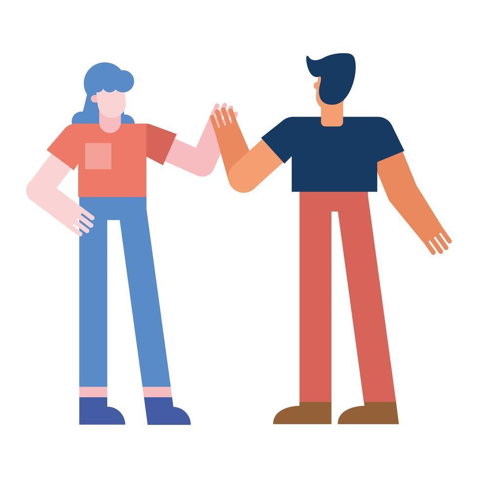 couple de femme et homme main dans la main vector design